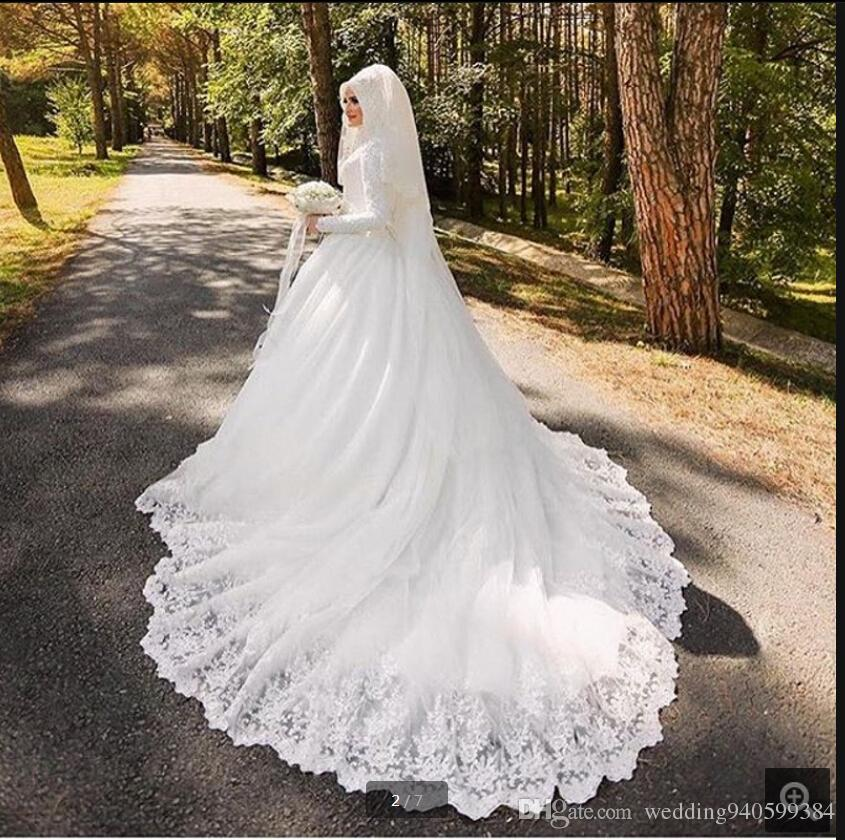 Robe de Mariage 2019 white lace appliques ball gown wedding dress long sleeve muslim women plus size wedding gowns best selling