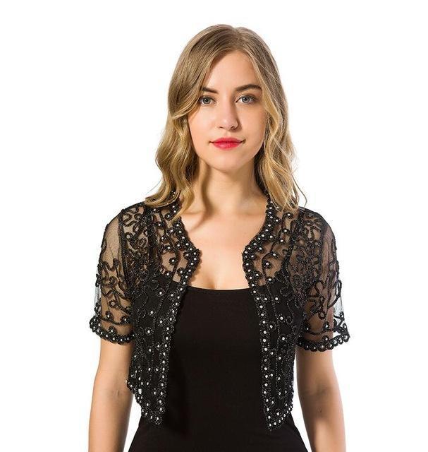 Women Basic Coat Summer Style Women Perspective Shawl Casual Hollow Out Lace Boleros Short Sleeve Coats Jackets Female Tide