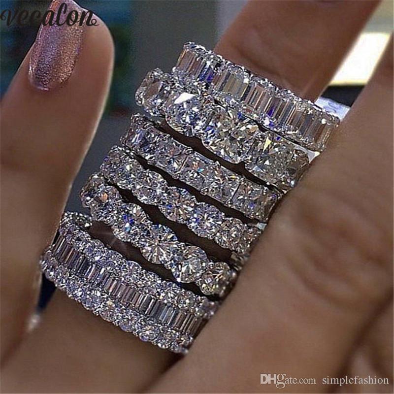 Vecalon 8 estilos Lustre Promise Wedding Band Anel 925 Sterling Silver Diamond Anéis de Noivado para as mulheres homens Jóias