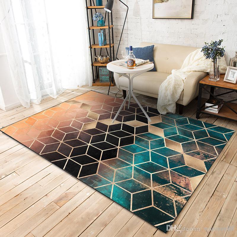 Gradiente Diamante Tappeto Tappeti Tappeti Moda Moda Geometrica Modello Camera da letto Porta Soggiorno Cucina Pavimento antiscivolo Mat Home Decor