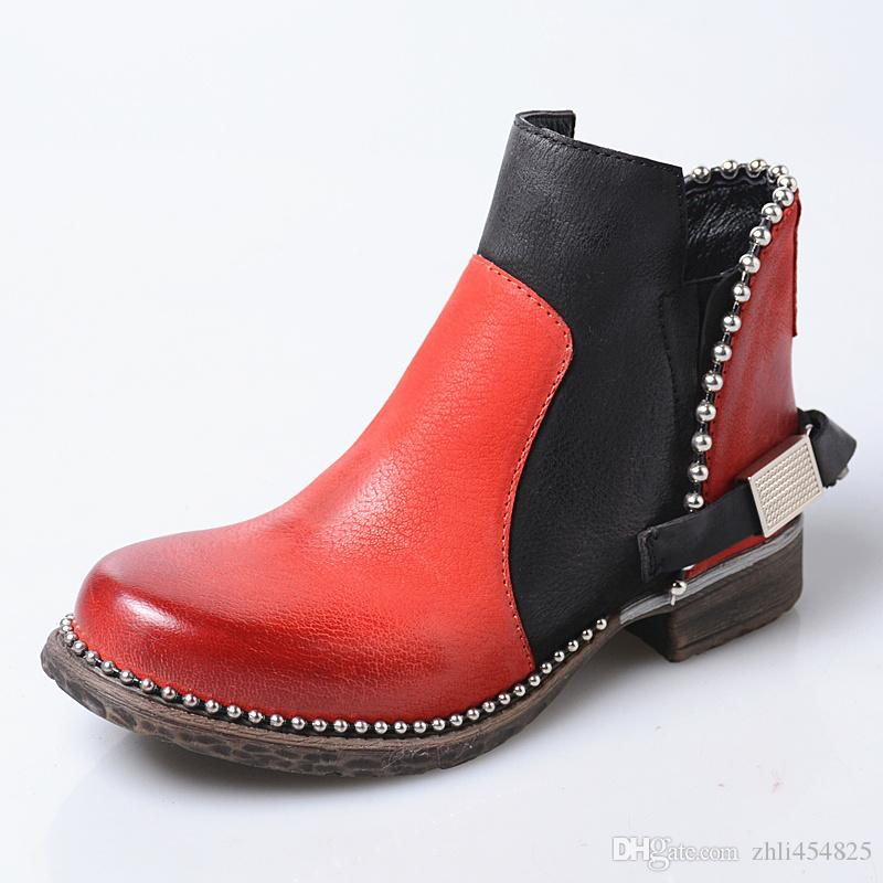 high quality handmade women ankle boots red genuine leather chains decor martin boots metal beading platform rubber shoes women short boots