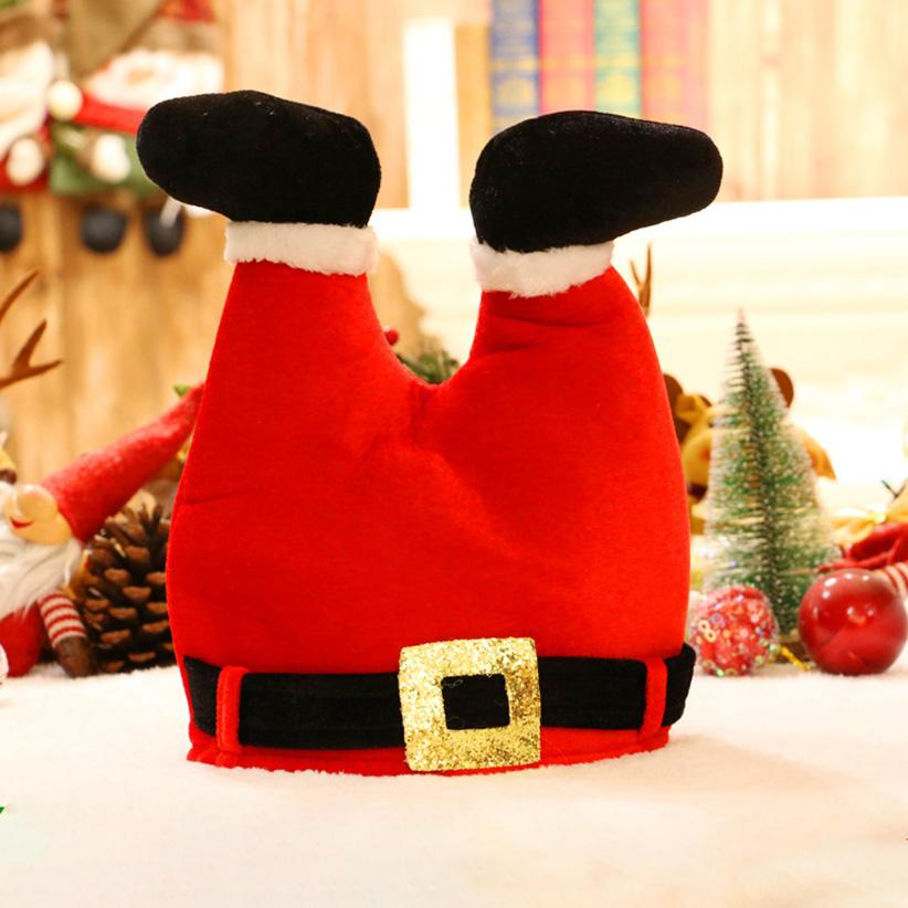 Creative Christmas Hat Santa funny Pants leg cap Red Non-woven Cloth Hat Christmas for Santa Claus Costume Xmas Decor Gift