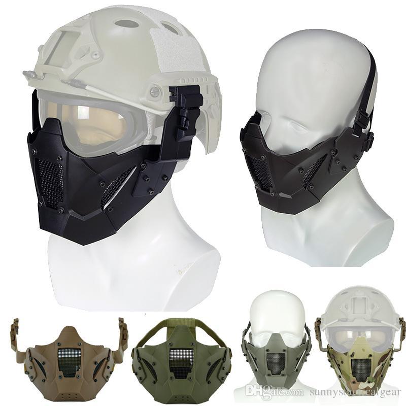 Disparos al aire libre Airsoft Protección de la cara del engranaje táctico rápido Máscara Casco ala del carril lateral del montaje del carril de alambre de acero de malla con cabeza banda NO03-117
