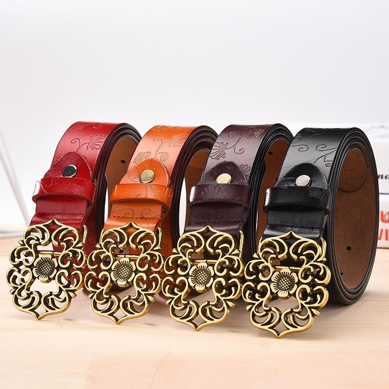Classic embossed leather Casual pants belt Women's wide simple student casual pants belt