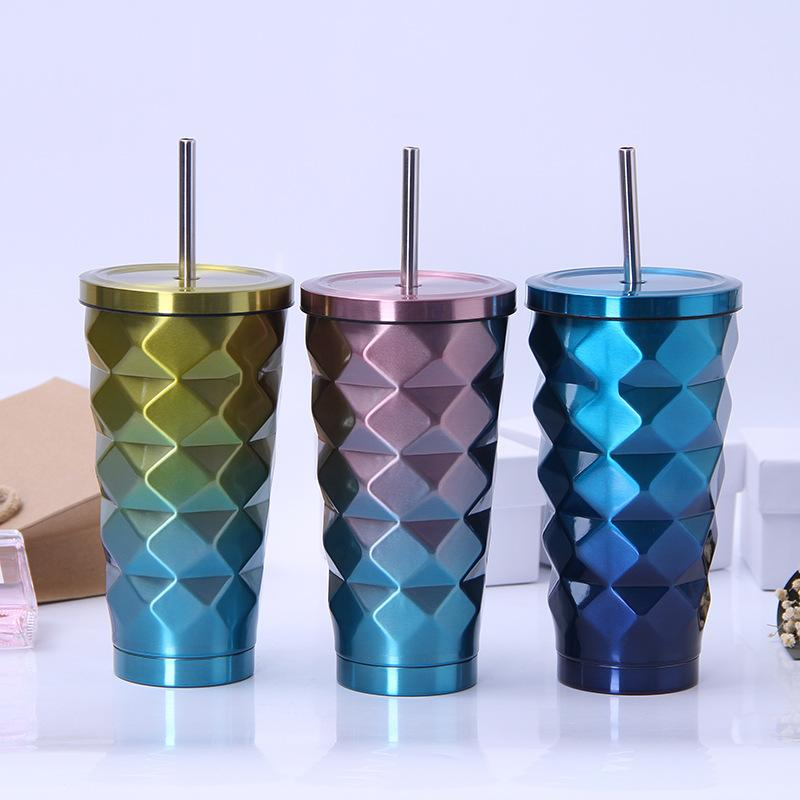 500ml Stainless Steel Diamond Car Cups Outdoor Travel Portable Gradient Pineapple Cup With Straw 6styles RRA2010