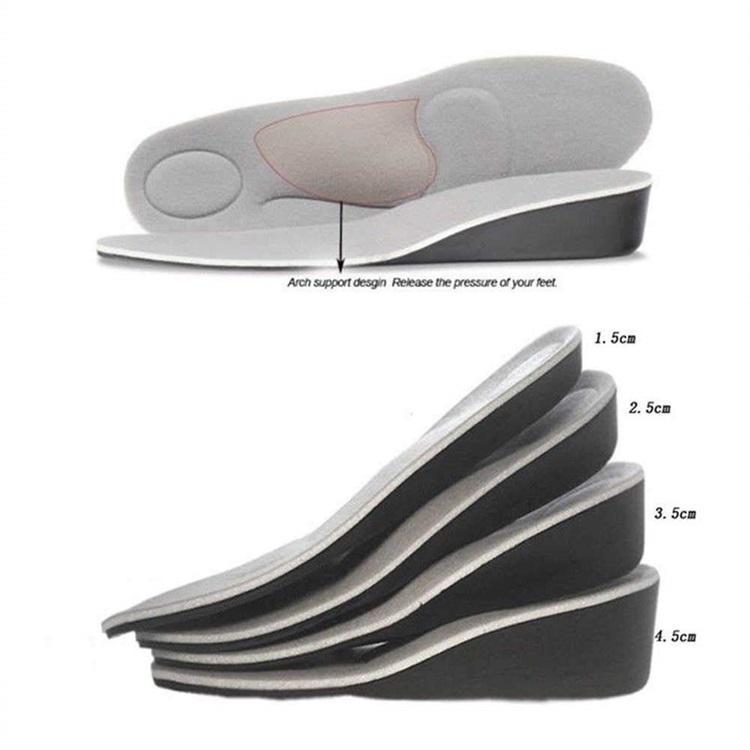 1212 Respirável PU Aumentar Aumento de Altura da Palmilha Invisível Aumentou o Levantamento de Salto Inserções Elevadores de Sapato Almofadas de Sapato Elevador Palmilhas para Homens Wom