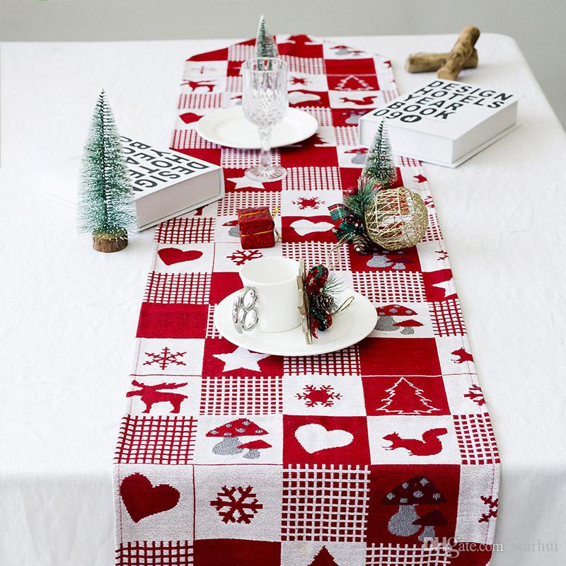 170*35cm Christmas Decorations Tablecloth Cotton Linen Embroidery Elk Printed Table Flag Christmas Party Xmas Table Supplies WX9-1713