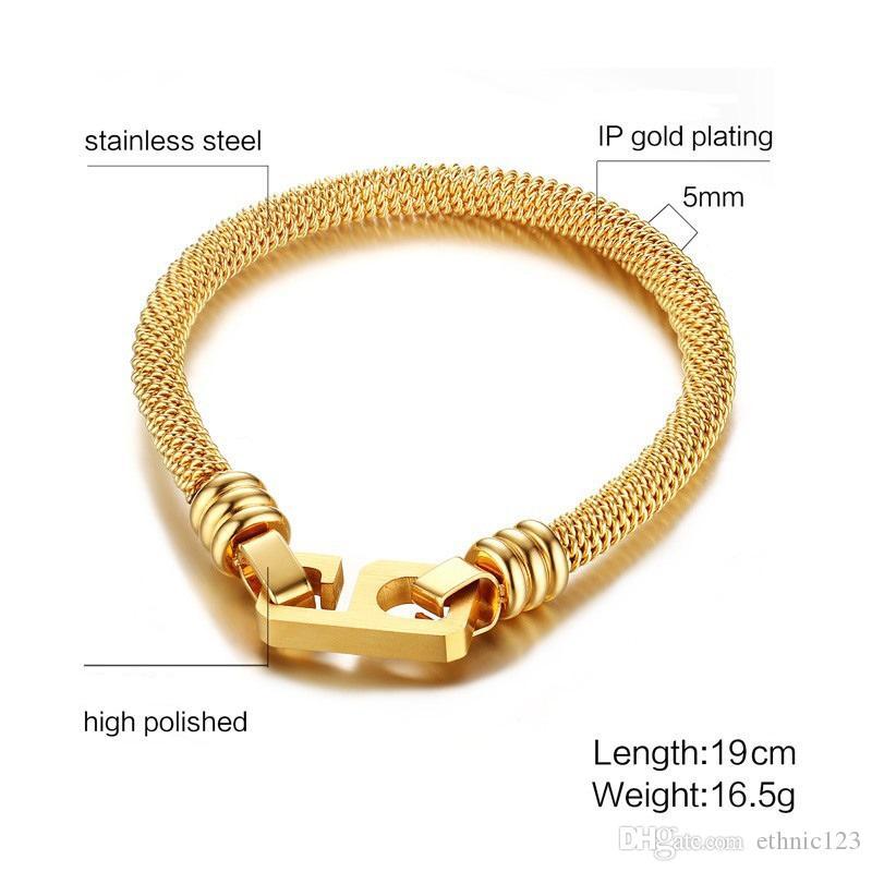5 MM nero oro colore moda semplice uomo 'braccialetto bracciale in acciaio inossidabile gioielli regalo per le donne uomini J340