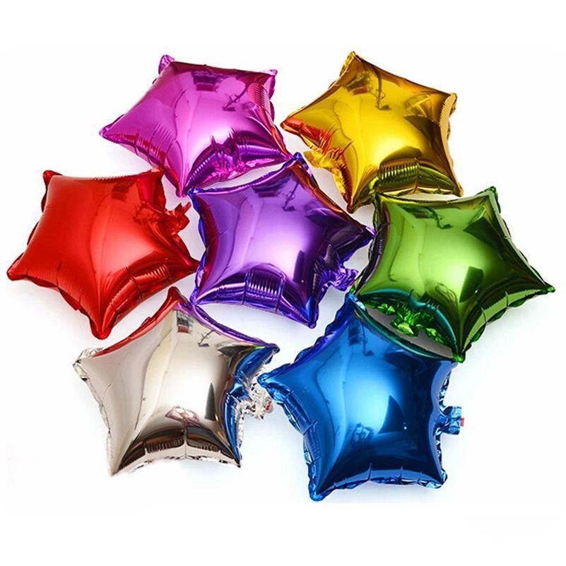 10pcs / lot Yıldız Folyo Balon Bebek Düğün Çocuk Doğum Günü Parti Süslemeleri Çocuk Balonlar Globos 10 İnç Beş köşeli