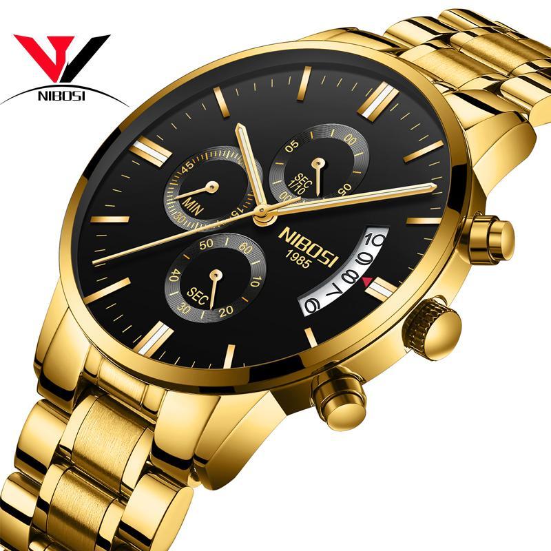Relogio masculino Nibosi Relógios Desportivos Para Homens Militar Do Exército Analógico / cronógrafo Homens Relógio de Aço Inoxidável Vestido Masculino Relógio Saat Y19051302