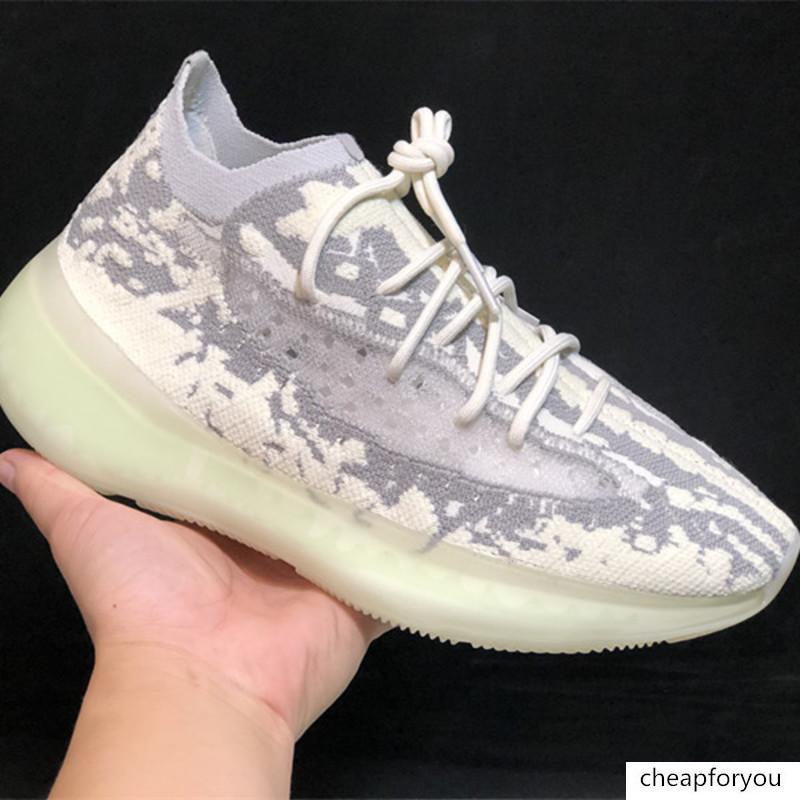 Con la caja 2020 la nueva versión V3 380 Citrin extranjero niebla estático Kanye West Negro Verde mujeres de los hombres de los zapatos corrientes diseñador de moda Deportes zapatilla de deporte
