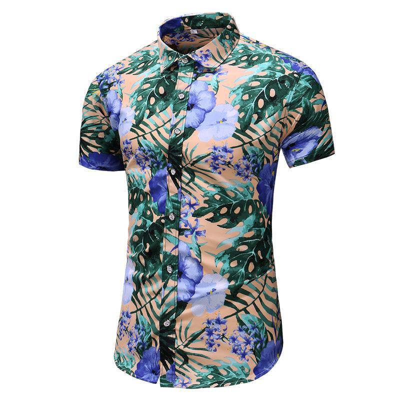 Camicie casual da uomo M-6XL 7xL Mens Slim Fit Shirt Hawaiian Shirt da uomo Summer Style Stampa manica corta Maschio Big Size