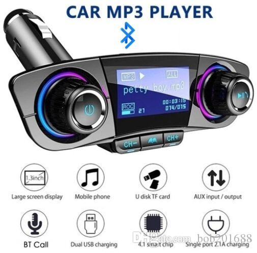 AUDIO AUDIO MP3 Lettore con carica Dual USB Car Carta BT Vivavoce FM Trasmettitore Aux Modulator Kit auto BT06