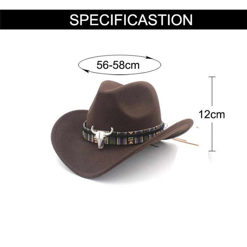 Autumn and Winter New Ethnic Style Western Cowboy Hat Men&Women\'s Wool Hat Hunting Caps Western Cowboy Hat