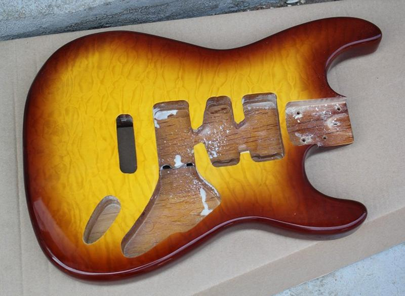 DIY Red Brown Body Electric Guitar, Flamme placage d'érable, peut être personnalisé selon votre demande
