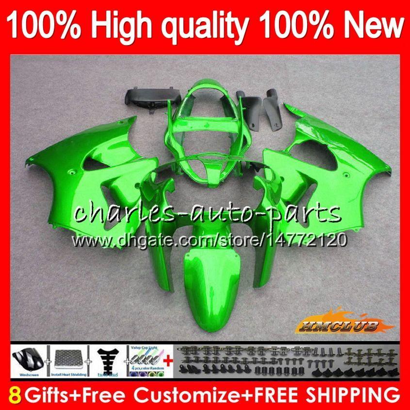 Bodys para Kit KAWASAKI metal verde ZX600 600cc ZZR600 05 06 07 08 Carroçaria 38HC.25 ZX600CC ZZR600 ZZR 600 2005 2006 2007 2008 OEM Fairing