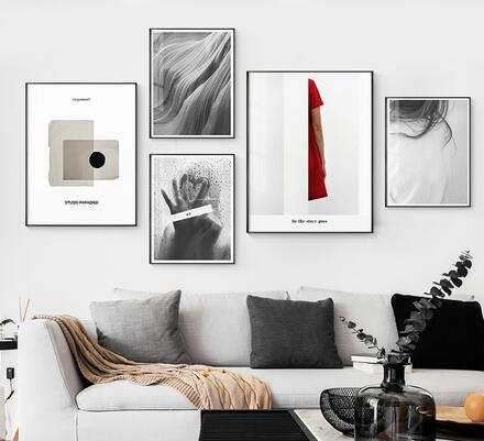 Abstract Minimalist style Meet by heart and black white For art wall decoration hot sale popular poster 6