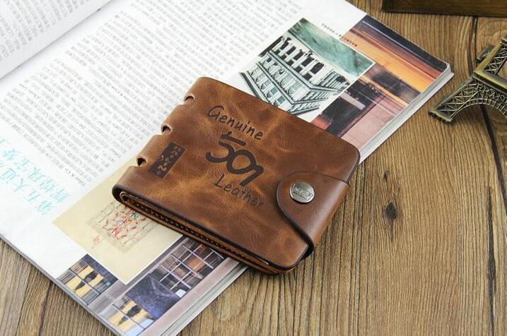 501 2019 NEW Mens Leder ID Kartenhalter Brieftasche Geldbörse Brieftasche Handtasche feste Tasche lässig kleine leichte