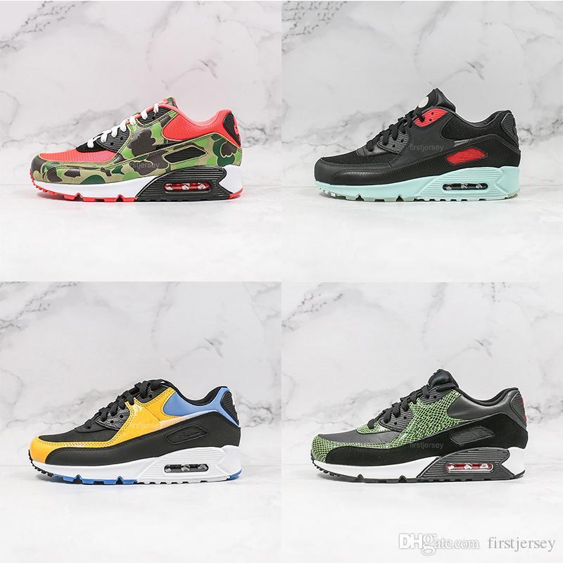Camo Ördek ATMOS'un Erkekler Kadınlar Ters 90S Essential Tren siyah yeşil pembe Erkek spor eğitmenleri tasarımcı spor ayakkabıları QS 90 Koşu Ayakkabı