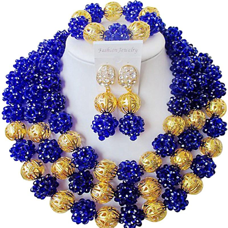 New Style Royal Blue African Crystal Beads Party and Daily Use Jewelry Set for Women 3C-SJXJS-03