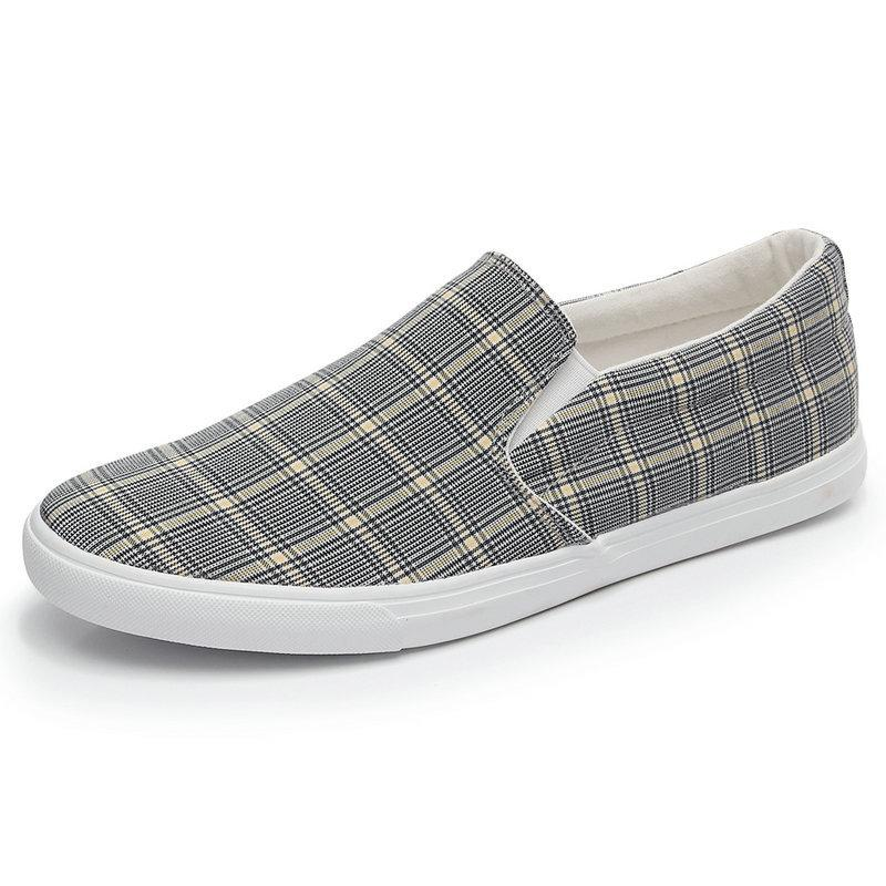 Mixed-color Plaid Loafers Men Canvas Shoes High Quality Mens Shoes Casual Comfortable Breathable Shoes Men Sneakers 2019 Tenis