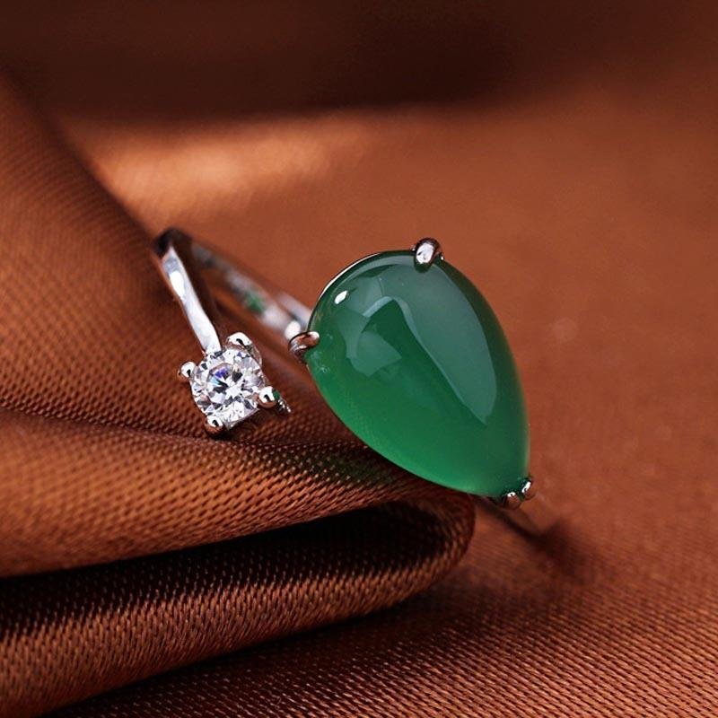 Red Trees Fine Jewelry Green Gemstone Rings, Real 925 Sterling Silver Rings For Women Wedding Adjustable Size Jade Ring J 190430