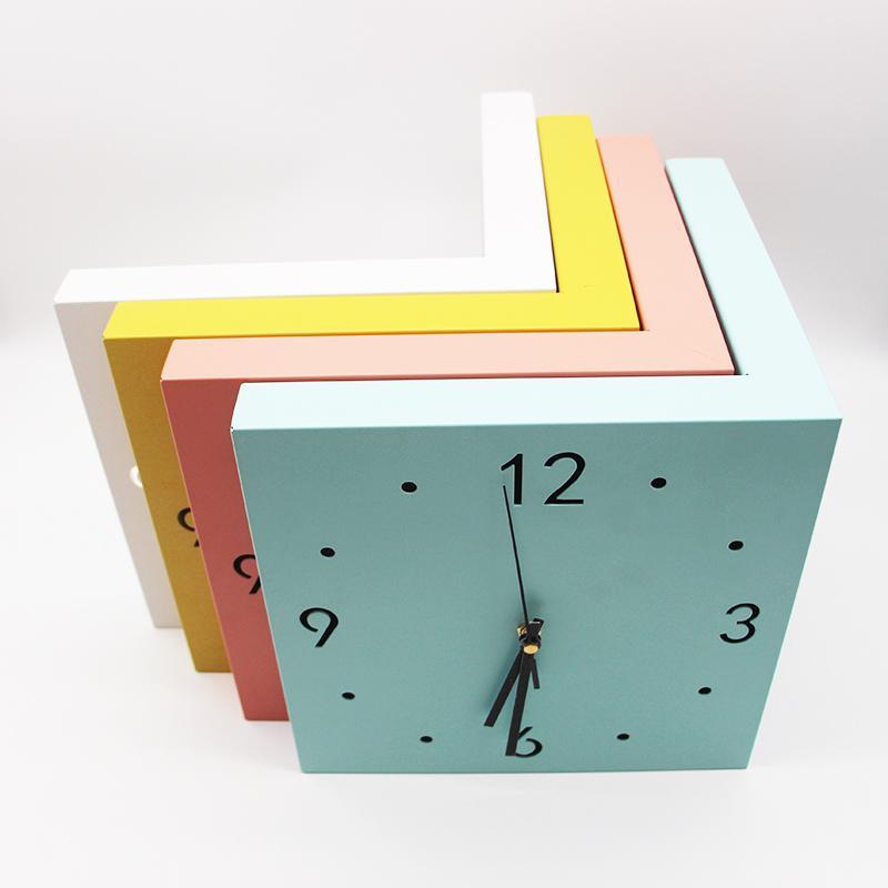 Двусторонний Современные настенные часы белый дизайн Бесшумный Большой угол Гостиная Часы Часы Клок Домашнее украшение DD55WC