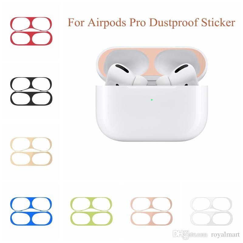 Per AirPods Pro pelle Polvere Guardia adesivi antipolvere Charging Box pellicola protettiva per AirPods 3 trasporto libero di caso