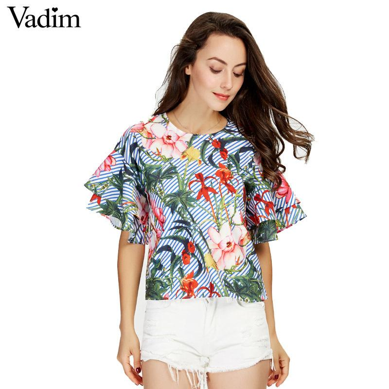 Vadim Women Sweet Ruffles Loose Floral Shirts Short Sleeve O Neck Blouse European Style Flower Print Tops Blusas Dt1052 Y19050501