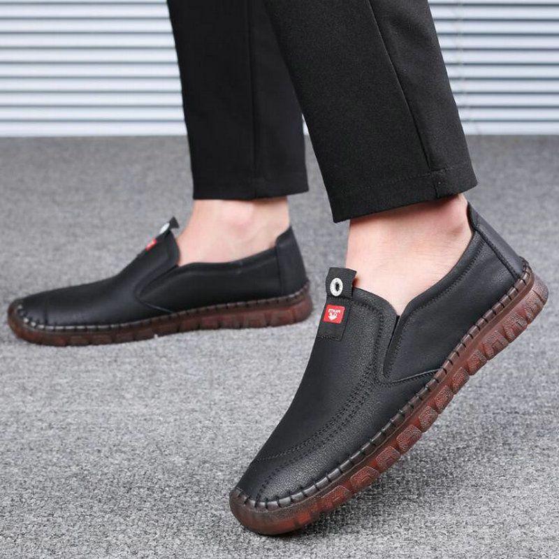 совершенно новые мужские повседневные квартиры обувь ручной работы мужчины повседневная натуральная кожа квартиры вождения мокасины лодка обувь A52-67