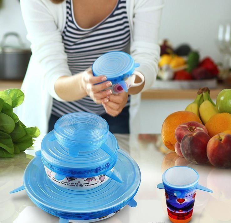 6 Unids / set Silicone Stretch Succión Pot Tapas Calidad Alimentaria Fresca Mantener Wrap Seal Lid Pan Cover 4 Color Agradable Accesorios de Cocina