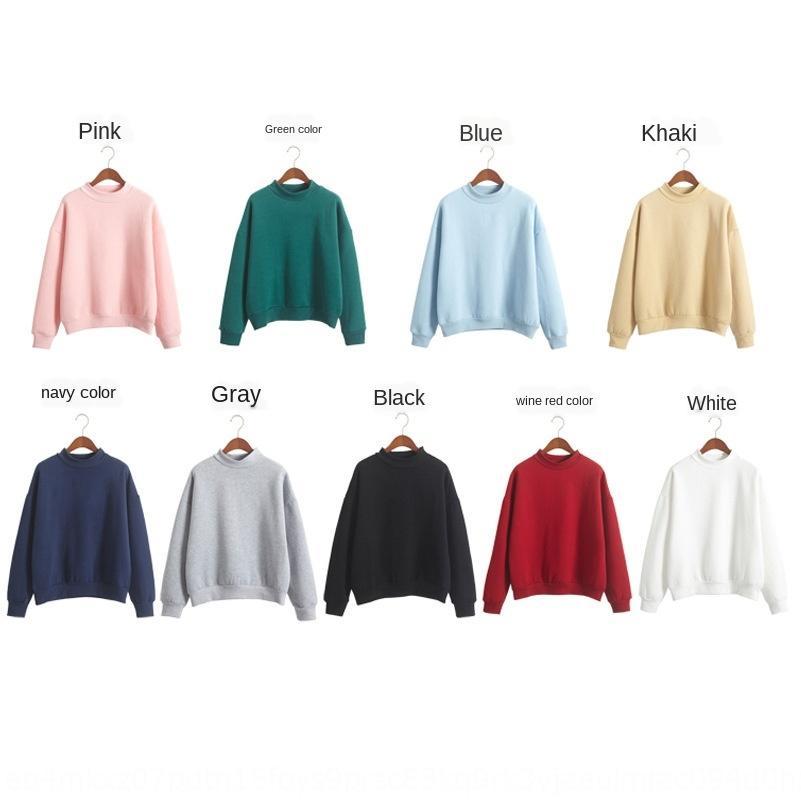 Nove cores de camisa de base colarinho inverno estilo coreano estande camisa pullover cor sólida espessa pulôver camisola mulheres nova SrerH
