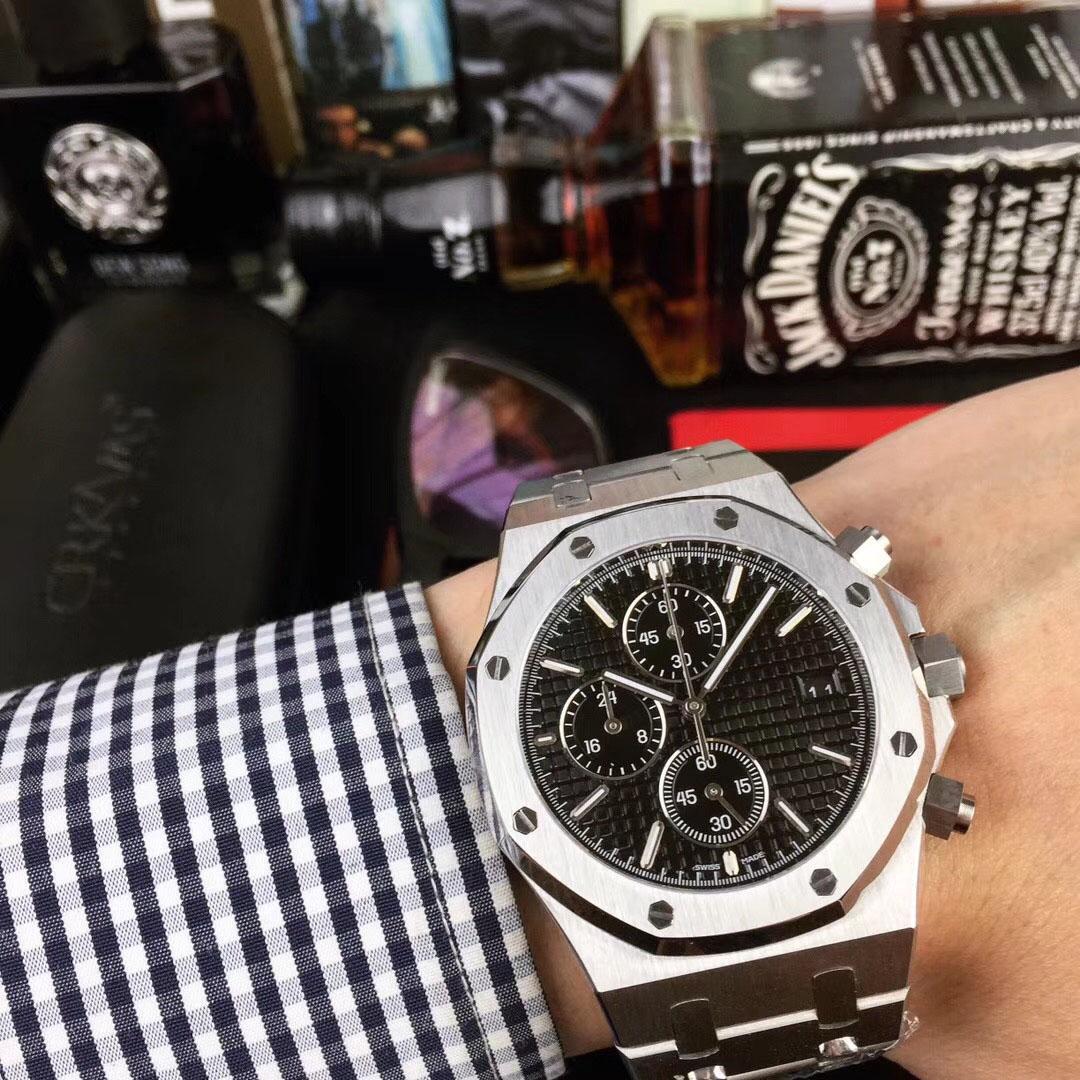 남성 자동 기계 시계 클래식 스타일 스테인레스 스틸 스트랩 디자이너 식스 손 시계