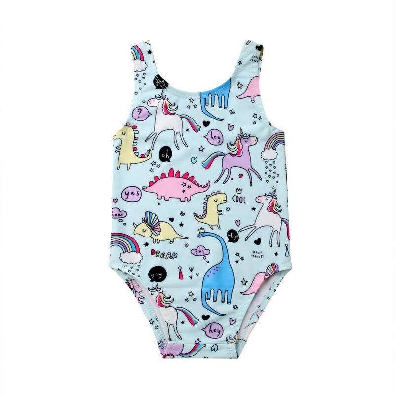 Newborn estate del fumetto per bambini neonate Swimwear Swimsuit infantile delle ragazze casuale Unicorn bikini costume da bagno Beachwear