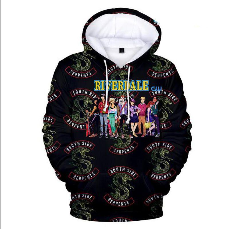 Riverdale 3D Harajuku Sudadera Tallas grandes South Side Serpents Streetwear Sudadera con capucha de Hip Hop Sudadera con capucha Chándal Sudadera casual