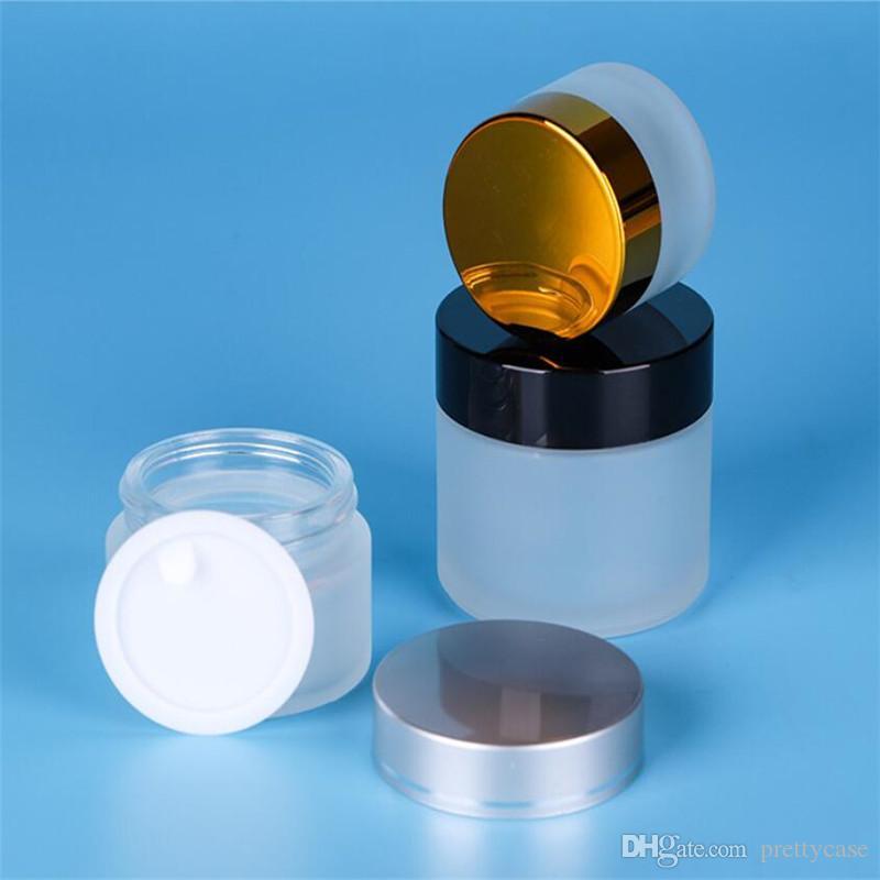 20G 30G 50G прозрачный матовый стеклянный банок пустой покрасненной бутылкой косметики косметики для корзины лосьон для хранения крем для хранения банки