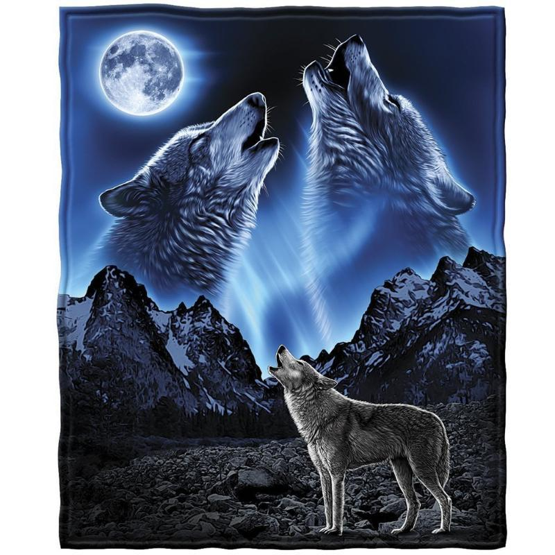 CHARMHOME Spring Autumn Custom Fleece Blankets for Beds Durable and Comfortable Wolves Howling Moon Beach Blanket for Adults Kid