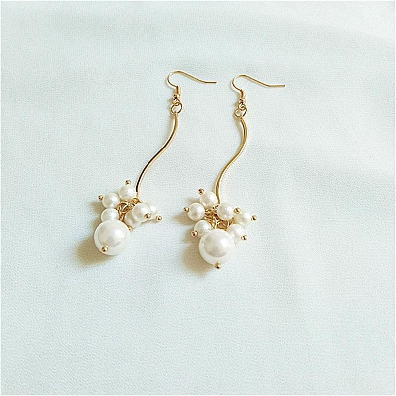 Moda adelgazamiento dulce de joyería de perlas perla larga del diseño de la borla de la curva de joyería de moda creativa knYEU