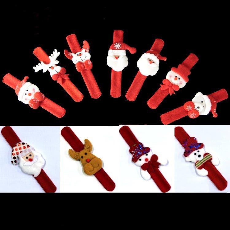 Christmas Pops Rings Xmas Slap Clap Bracelet Party Decoration For Santa Claus Snowman Plush Hand Circle Toys Bangle For Kids Adult AN2058