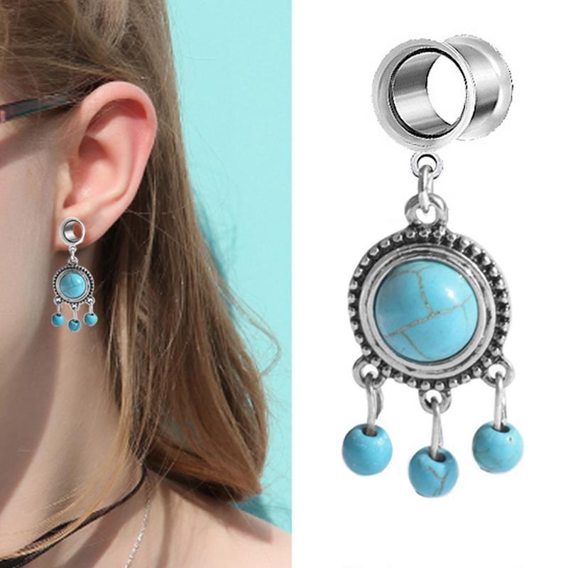 Double speaker perforated turquoise pendant ear extended auricle earrings popular earrings(single) 20p