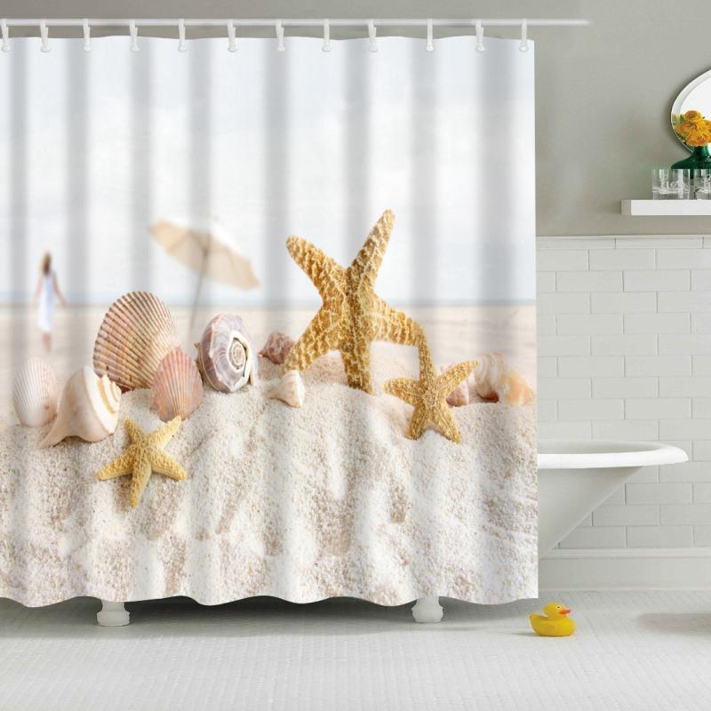 Nuevo colorido ecológico playa concha de mar Shell poliéster de alta calidad lavable baño decoración Plato de ducha SH190919