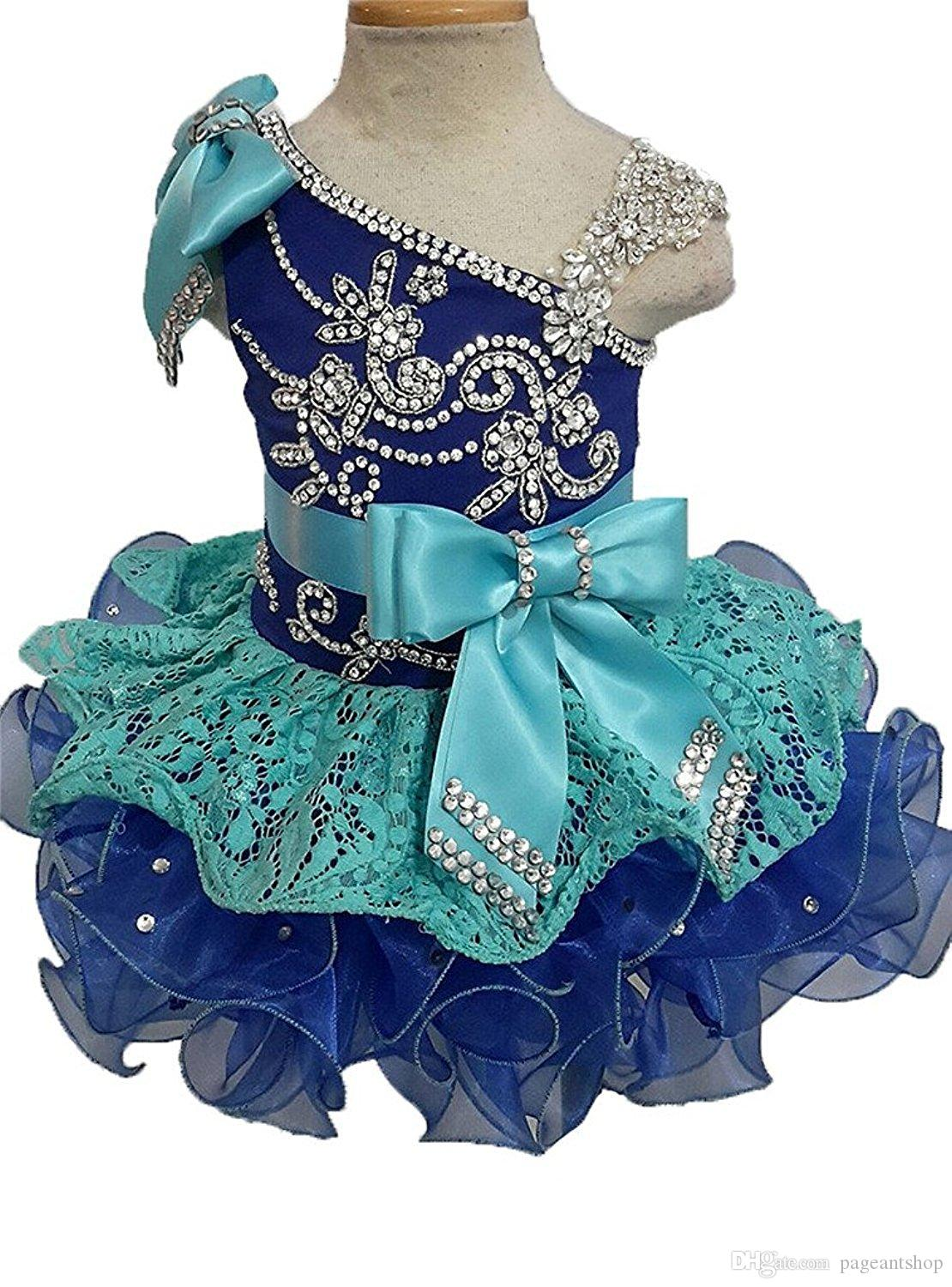 Glitz Pageant Dresses For Girls Little Girl Gowns Beads Crystal Rhinestone Ruffles cupcake pageant Tutu dress