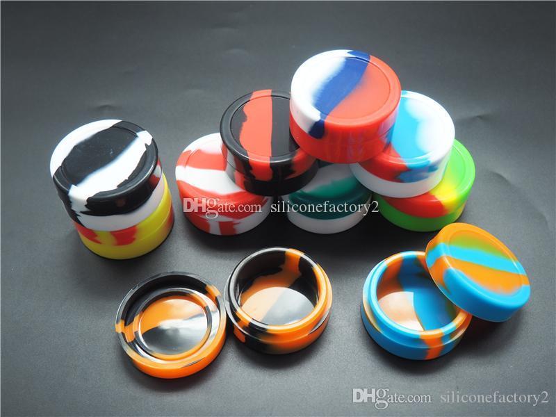 22ml sortierte Farbe Silikonbehälter für Tupfer Runde Form Silikonbehälter Wachs Silikongläser Tupfen Behälter