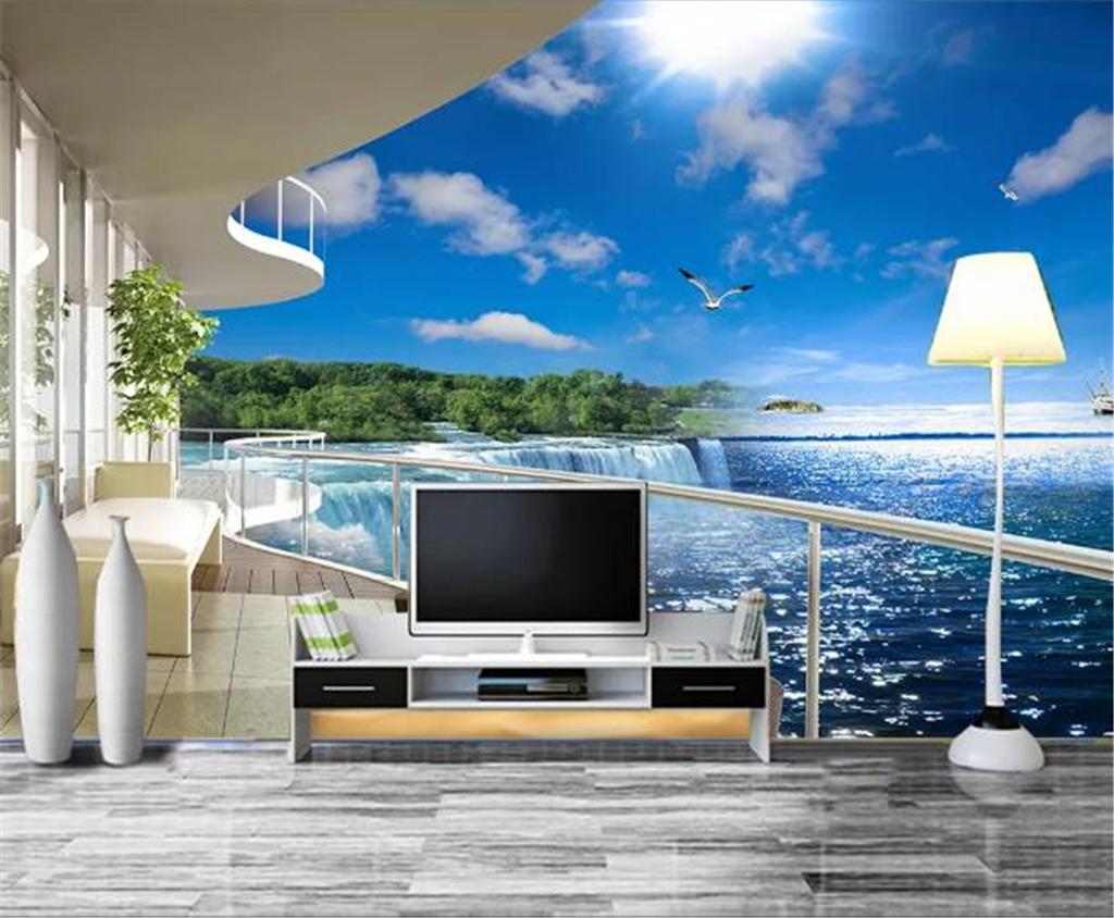 Personalizado Qualquer Tamanho 3D Papel De Parede 3D Fluxo Voadores Cachoeira Bonita Vista Para O Mar de Fundo Decoração Da Parede Mural Papel De Parede