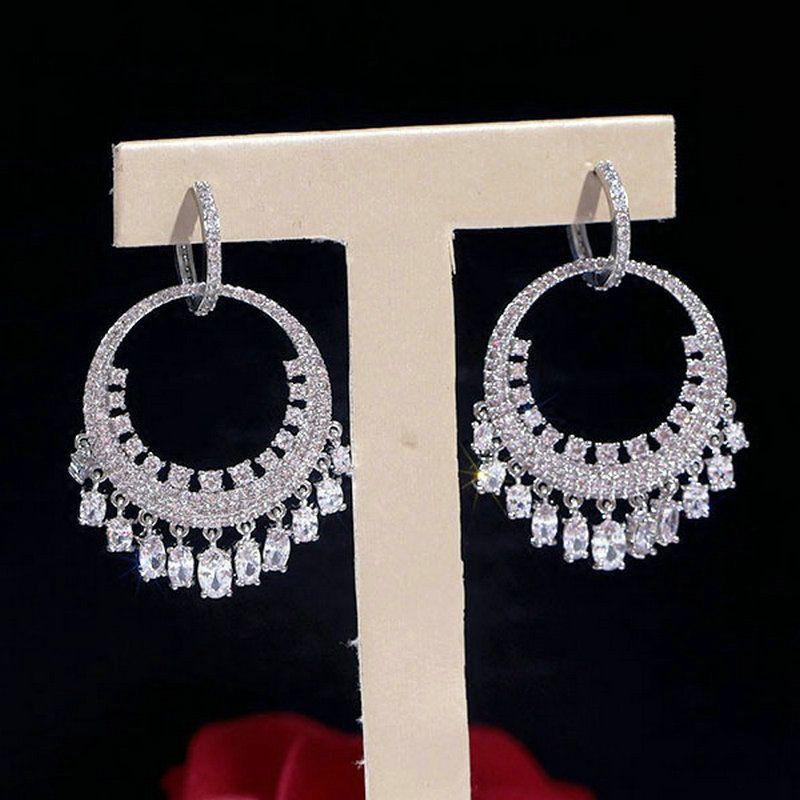 1 par de joyería verde claro CZ del pendiente del aro de la borla de los pendientes de gota pendiente para el regalo de boda del partido