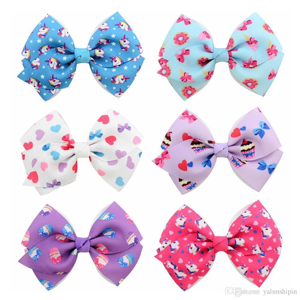 6pcs/Lot 4inch Unicorn Cake Heart Donut Print Grosgrain Ribbon Bow With Clip For Kids Floral Bows Girls Hair Accessories 865