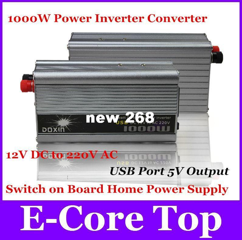 Freeshipping Modified Sine Wave 1000W Power Inverter DC 12V to AC 220V With USB Port 5V Output Converter Car Charger