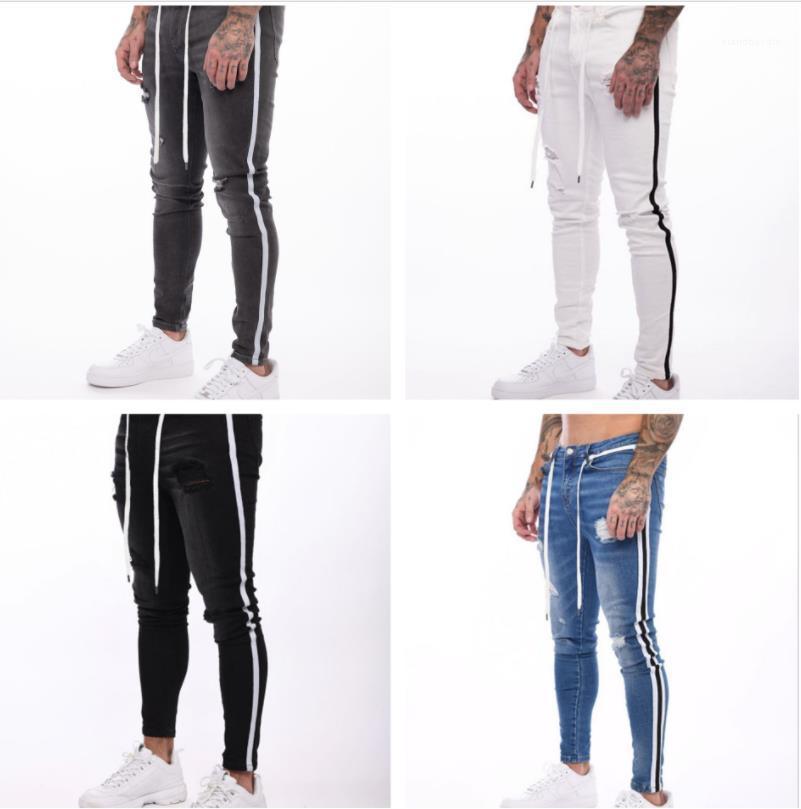 Uomo Nuovo jeans strappati Primavera Autunno Fashion Street a strisce dei pantaloni della matita di moda Jean