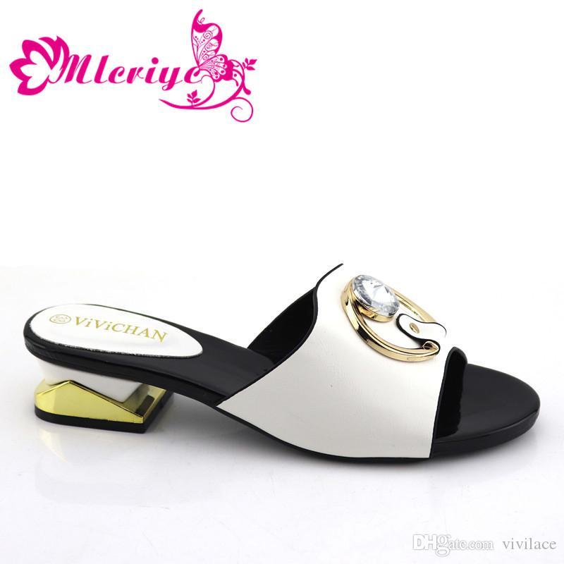 Новое прибытие Итальянского Свадебной обувь для женщин высокого качества Африканской партии женщин обуви Украшенной с Rhinestone нигерийской обувью