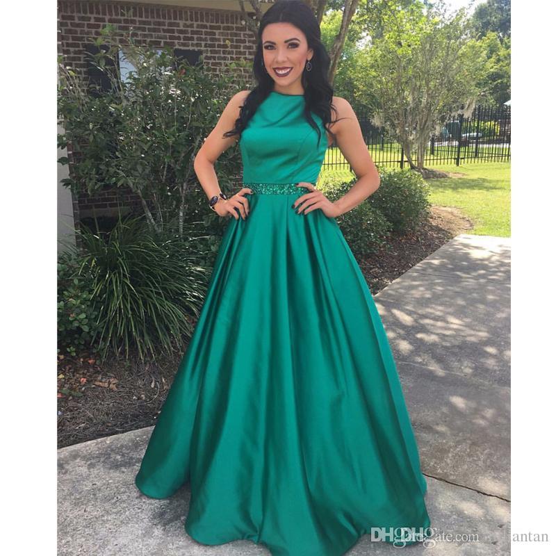 Compre Vestido De Fiesta Verde Oscuro Vestidos De Noche Vestido De Fiesta De Satén Con Lentejuelas Sash De Graduación Vestido De Fiesta De Satén Para